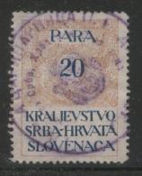 YUGOSLAVIA 1920 GENERAL REVENUE ISSUE FOR THE KINGDOM 20 PARA ORANGE & BLUE  USED BF#024 - Usati