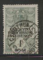 YUGOSLAVIA 1920 GENERAL REVENUE ISSUE FOR THE KINGDOM KRALJEVINA 1 DINAR GREEN & BLACK  USED BF#051 - Used Stamps