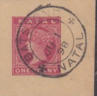 South Africa Natal 1d Queeen Victoria News Wrapper Fragment Used BASTSTONE NATAL JU 1 98 C.d.s. - Afrique Du Sud (...-1961)