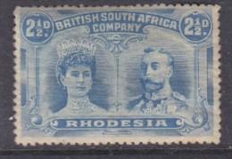 Southern Rhodesia (BSAC) Double Head 1910 2 1/2d Bright Ultramarine, Perf 14, MH * - Südrhodesien (...-1964)
