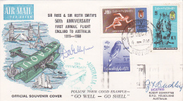 Burma 1969 50th Anniversary First Air Mail Flight England To Australia, Signed Cover - Myanmar (Burma 1948-...)