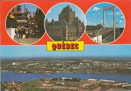 Cp , CANADA , QUEBEC , Château Frontenac, Les Ponts Pierre Laporte Et Quebec , Vue Aérienne De La Citadelle, Multi-Vues - Québec - La Citadelle