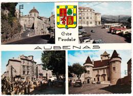 Aubenas-en-Vivarais: PEUGEOT 402, 203, 203 FAMILIALE & 203 U - 5x Autobus - Dome, L'Airette, Marché,Chateau (F) - Voitures De Tourisme