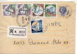 1989 Italy Italia Italie Intero Biglietto Raccomandata Sir £120+400+500+1000x2+30 Entier Card Stationery - 6. 1946-.. Repubblica
