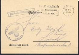Germany Deutsches Reich 1941 Card: Post Vergiss Nicht Strasse Und Hausnummer Anzugeben! Lübeck Slogan Cancellation - Allemagne