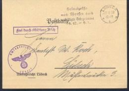 Germany Deutsches Reich 1941 Card: Post Heimatgrüsse Nach Ubersee Durch Verbilligte Telegramme Slogan Cancellation - Ohne Zuordnung