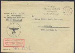 Germany Deutsches Reich 1938 Cover Post Benutze Für Telegramme Nach Ubersee Nur Deutsche ..Kabelwege Slogan Cancellation - Allemagne
