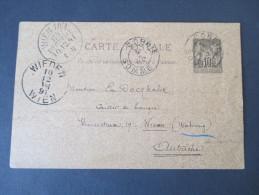 Frankreich GA 1891. Social Philately! Absender: Eugene Boullet. French Naturalist/Entomologist.Berühmter Wissenschaftler - 1876-1898 Sage (Type II)