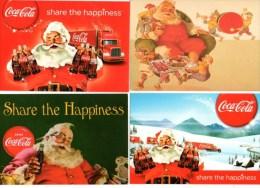 Coca Cola Kerstman Père Noel Santa Claus Weihnachtsmann 4 Kaarten Cartes Cards - Santa Claus