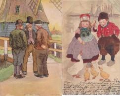 580/ 2 Oude Getekende Kaarten, Melchers / - Illustrateurs & Photographes