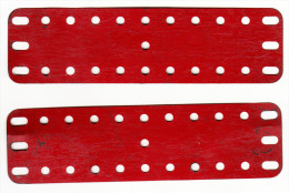 2 MECCANO  Metalen Platen -  Old Metal Plates  - 14 Cm X 3,8 Cm   - Rood / Rot / Red / Rouge (1 Scans) - Meccano