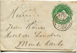 Cairo To Montecarlo Postal Stationary With Post Office Hotel Cancel - Egypt