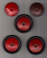 MECCANO: 3 Geheel Metalen Wielen & EXTRA´S - Roues Anciennes - Old Metal Wheels  - 6,4 Cm  - Rood / Rot / Red / Rouge - Meccano