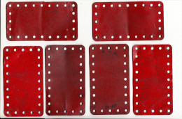 6 MECCANO  metalen platen -  old metal plates  - 11,4 cm x 6,4 cm   - Rood / Rot / Red / Rouge (1 scan)