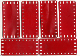 6 MECCANO  Metalen Platen -  Old Metal Plates  - 14 Cm X 6,4 Cm   - Rood / Rot / Red / Rouge (1 Scan) - Meccano