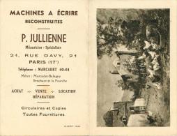 Calendriers - Calendrier De 1944 - Publicité Machines à écrire P. Julienne 21 Rue Davy Paris Arrondissement 17 - Calendars