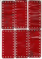 10 MECCANO  metalen platen -  old metal plates  - 14 cm x 6,4 cm   - Rood / Rot / Red / Rouge (2 scans)