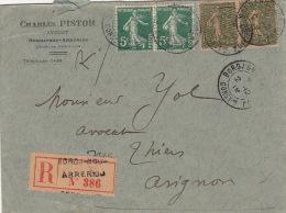 Env -Recommandé Bordj-Bou-Arréridj (Algerie) Semeuse 1919 - Postmark Collection (Covers)