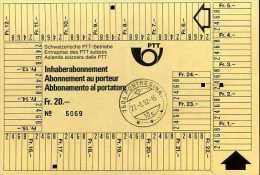 Suisse Abonnement Au Porteur Entreprise Des PTT Suisses 1992 - Abonnements Hebdomadaires & Mensuels