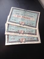 RARE Et NEUF : Serie De 3 Billets Necessité Flers Lez Lille Numeros Consecutifs 1914 - Buoni & Necessità