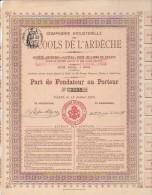 ALCOOLS DE L'ARDECHE - PART DE FONDATEUR - ANNEE 1905 - Altri