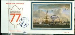 RWANDA * FDC 230 *  WILLEM VAN DE VELDE * LE PORT D'AMSTERDAM *  AMPHILEX 1977  (9667a) - Rwanda