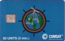USA COMSAT SATELLITE 50U SC6 BLEU CLAIR CLEAR BLUE NEUVE MINT - Schede A Pulce