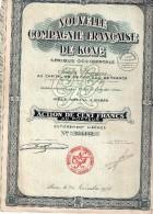 Nouvelle Compagnie Française De Kong - Afrique Occidentale - Action De Cent Francs Au Porteur - Afrique