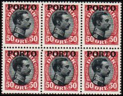 1921. Postage Due. Porto. Chr. X. 6x 50 Øre Wine Red/black. LUKSUS. (Michel: P7) - JF128101 - Postage Due