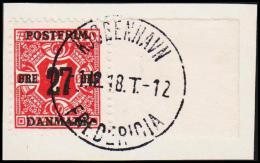 1918. Surcharge. 27 Øre On 7 Øre Red Newspaper Stamp. Perf 12 3/4. Wmk. New Crown. KØBE... (Michel: 86X) - JF128115 - Danemark