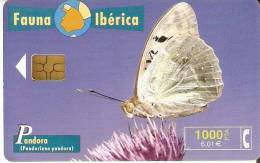 B-082 TARJETA DE ESPAÑA DE UNA MARIPOSA PANDORA CHIP NEGRO (BUTTERFLY) - Spanje