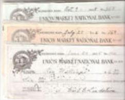 E) 039A CHECK- CHEQUE -ASSEGNI UNION MARKET NATIONAL BANK 1924/30 - Assegni & Assegni Di Viaggio