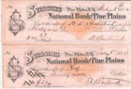 E) 047 CHECK- CHEQUE-ASSEGNI NATIONAL BANK OF PINE PLAINS 1882 RARO - Assegni & Assegni Di Viaggio
