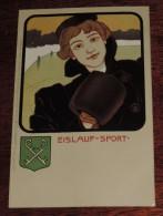 Kunstler Postkarten, Deutscher Sport, EISLAUF SPORT, Serie Nº 1070, 1900 Meissner & Buch, Art Nouveau, No Circulada - Ilustradores & Fotógrafos
