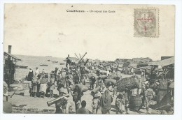 CPA TRES ANIMEE CASABLANCA, GROSSE ANIMATION SUR LES QUAIS, MAROC - Casablanca