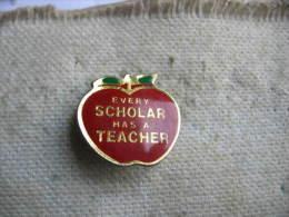 Pin´s Pomme Rouge, Every SCHOLAR Has A TEACHER ( Chaque Auteur A Un ENSEIGNANT) - Alimentazione