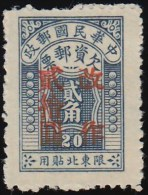 """CHINA (North Eastern) - Scott # J8 Postage Due """"Surcharged"""" (*) / Mint NG Stamp - North-Eastern 1946-48"""