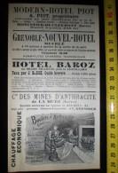 PUBLICITE GRENOBLE HOTEL BAROZ THIERVOZ MINES BOULETS D ANTHRACITE DE LA MURE GRENOBLE MONESTIER DE CLERMONT - Colecciones