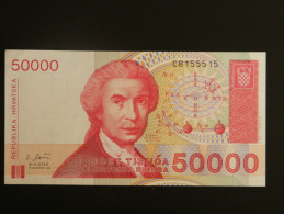 Billet - Croatie - Valeur Faciale : 50.000 Hrvatski Dinar - 1993 - Jamais Circulé - Motif : Ruder Bosković - Povije - Croatie