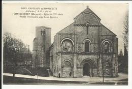 CHATEAUNEUF  , Eglise Du XII S. , Façade Remarquable Avec Statue équestre , 1917  , CPA ANIMEE - Autres Communes