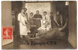 36 - ARGENTON-sur-CREUSE - X1 CARTE PHOTO De L´ABATTOIR / DÉPEÇAGE +++  Vers Châteauroux, 1908 ++++++++ TOP / ANIMÉE - France