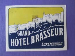 HOTEL AUBERGE MOTEL GRAND BRASSEUR LUXEMBOURG BELGIUM FRANCE DECAL STICKER LUGGAGE LABEL ETIQUETTE AUFKLEBER - Hotel Labels