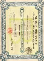 """Banque Coloniale  Action """"B"""" Au Porteur De 500frs--1931 - Banque & Assurance"""