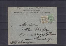 Belgique - Lettre De 1906  - Oblitération Anvers Gare - Expédié Vers L'Allemagne - Nürnberg - Valeur Plus De 12,50 € - 1893-1907 Armarios