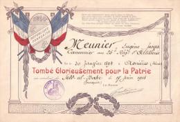 DIPLOME BREVET GUERRE 1914 1918 POILU ASNIERES TOMBE POUR PATRIE 25 R.A. ARTILLERIE COMBAT TURQUIE 1915