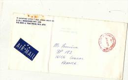 ENVELOPPE TIMBREE PAR AVION AUSTRALIE S ET J INDUSTRIES PTY AFFR TAMPON / FRANCE COGNAC - 1853-1912 Tasmania