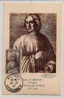 France, 1947, Carte Maximum, Jean De Gerson, Théologien, Rethel, 14-3-47 - 1940-49