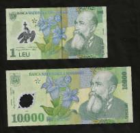 ROMANIA - BANCA NATIONALA ROMANIEI - 1 LEU (2005) & 10000 LEI (2000) - POLYMER - LOT Of 2 DIFFERENT BANKNOTES - Romania