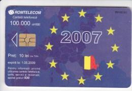 Romania   , Phonecards   , 2007 , Romtelecom ,  Flags , EU ,  Used - Telecom Operators