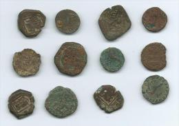 Conjunto De 12 Monedas Antiguas De Cobre - Otros